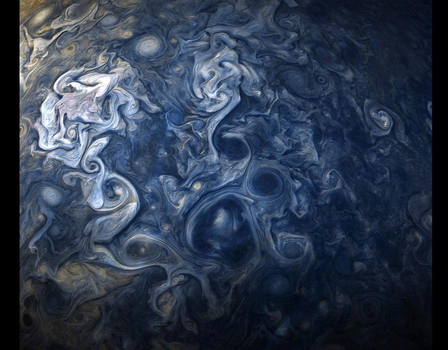Jovian clouds in striking shades of blue captured by NASA's Juno spacecraft