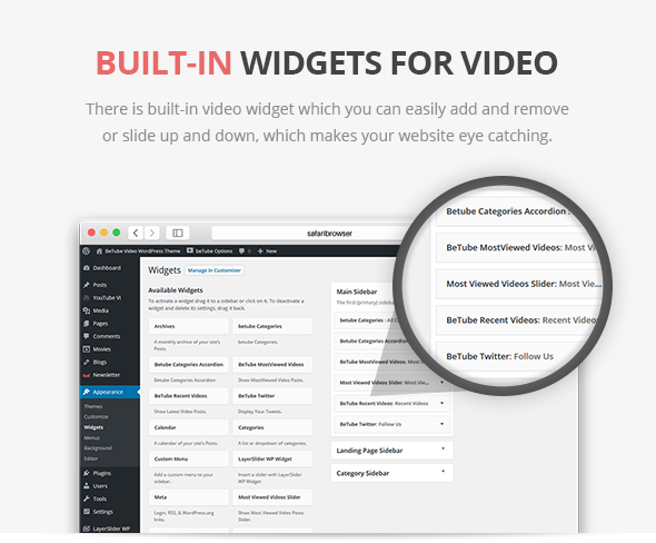 widgets ready video theme
