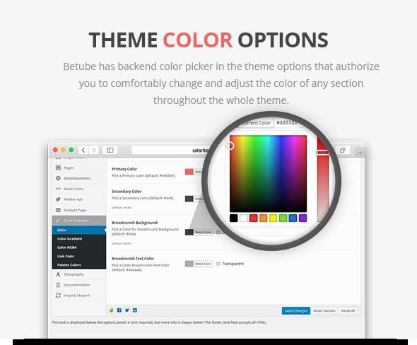 betube video theme colors