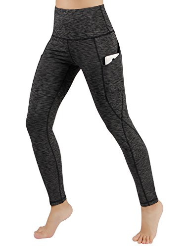 ODODOS High Waist Out Pocket Yoga Pants Tummy Control Workout Running 4 Way Stretch Yoga Leggings,SpaceDyeCharcoal,Large