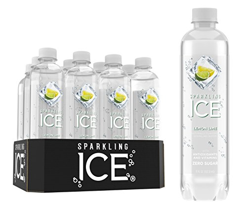 Sparkling Ice Lemon Lime Sparkling Water, with Antioxidants and Vitamins, Zero Sugar, 17 Ounce Bottles (Pack of 12)