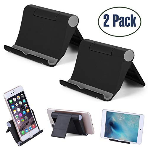 "Cell Phone Stand Multi-Angle,【2 Pack】Tablet Stand Universal Smartphones for Holder Tablets(6-11""), e-reader, Compatible iPhone X/8/8 Plus/7/7 Plus, Galaxy S8/S7/Note 8, Air, mini, Pixel 2(Black)"