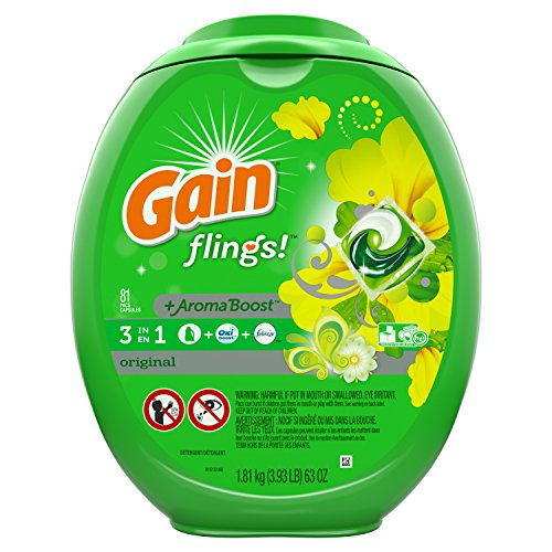 Gain Flings Laundry Detergent Pacs, Original Scent, 81 count