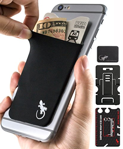 Gecko Adhesive Phone Wallet & RFID Blocking Sleeve, a Stick-On Stretchy Lycra Card holder Universally fits most Cell Phones & Cases. Xtra Tall Pocket Totally Covers Credit Cards & Cash - BLACK
