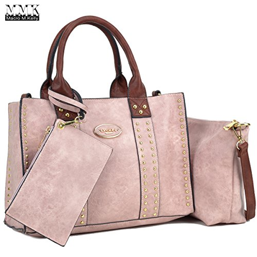 MMK Collection Fashion~Fall & winter color handbag for women~3 set bags with Satchel~wallet~Crossbody handbag (KK-13-0620-W-PK/CF)