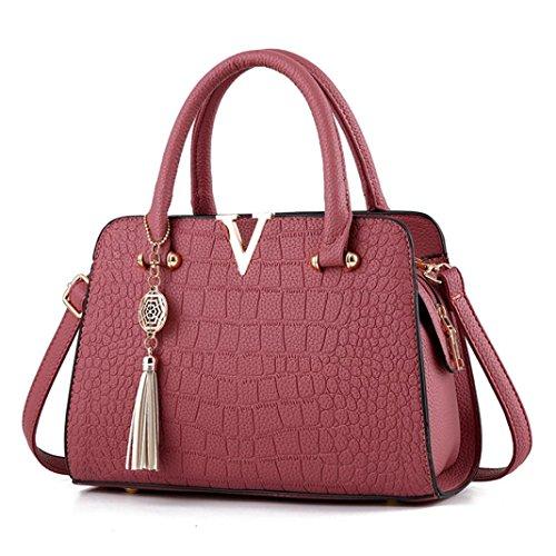 Hot Sale! Neartime Women Handbag, 2018 Woman's Tassel Crossbody Bags Leather Satchels Alligator Pattern Zipper Shoulder Bag (❤️28cm(L)×13cm(W)×20cm(H), Watermelon Red)
