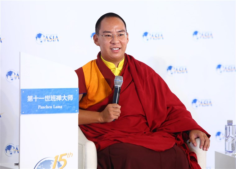 Image: The Panchen Lama who was installed by the Chinese government attends an event in 2016.