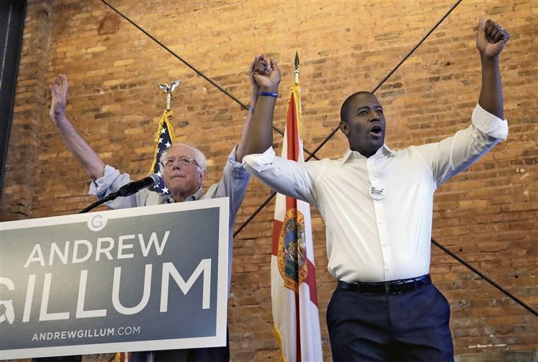 Image: Bernie Sanders, Andrew Gillum