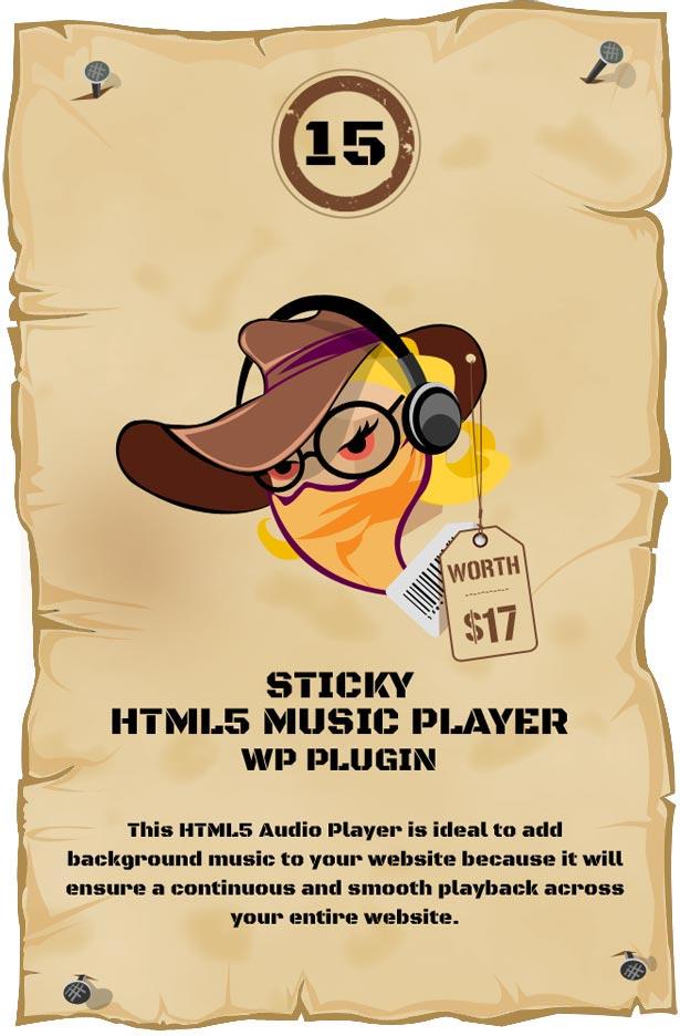 Sticky HTML5 Music Player WordPress Plugin
