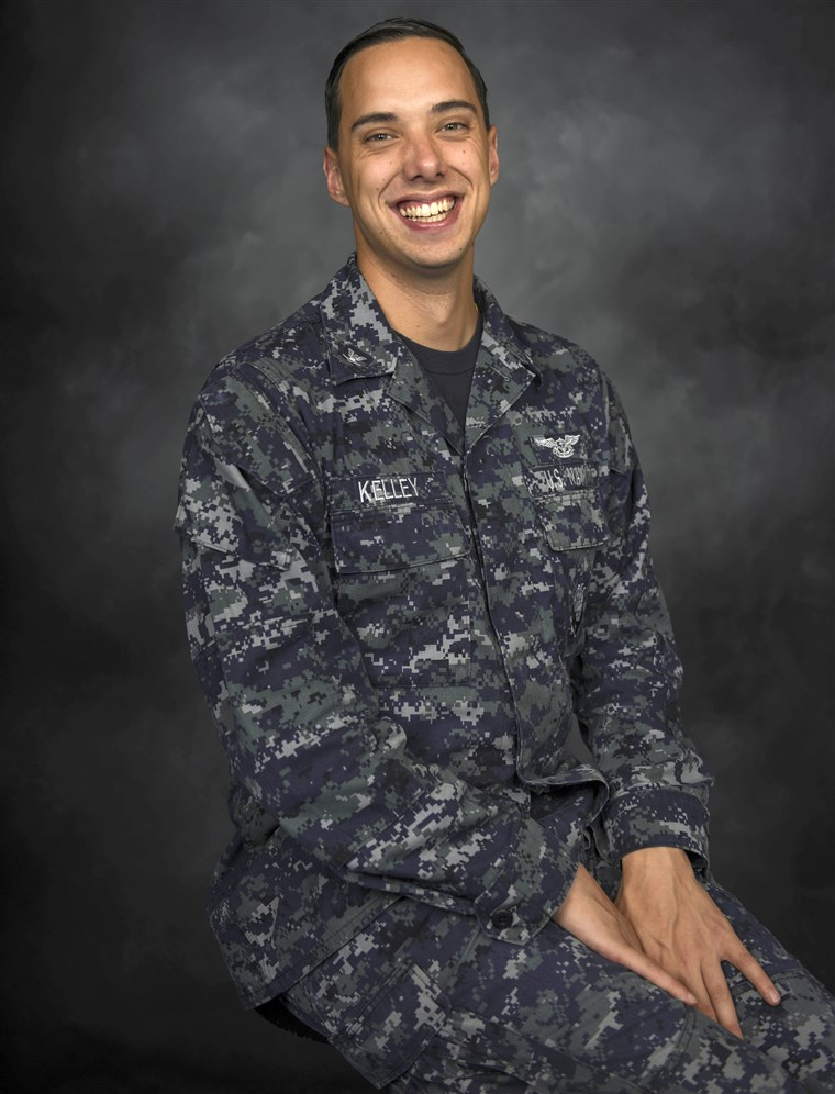 Yeoman 3rd Class Joshua J. Kelley, from Berwick, Pennsylvania, on the Navy's forward-deployed aircraft carrier USS Ronald Reagan (CVN 76) on May 29, 2018.