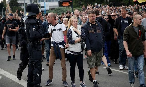 Protestors clashed in Chemnitz following the fatal stabbing of a German man on the weekend