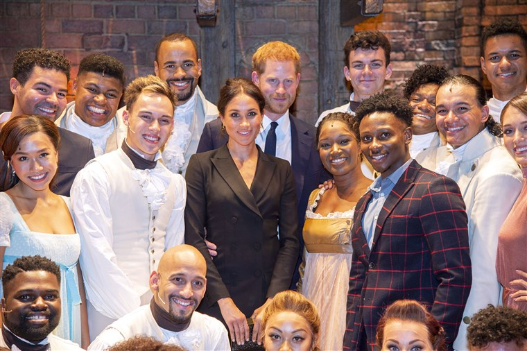"""Image: Prince Harry and Meghan Markle meet the cast and crew of """"Hamilton"""" in London"""