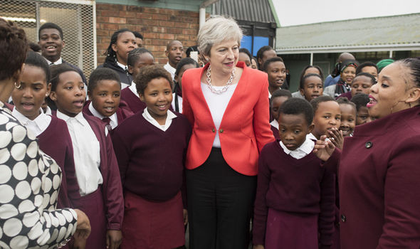 Theresa May in South Africa