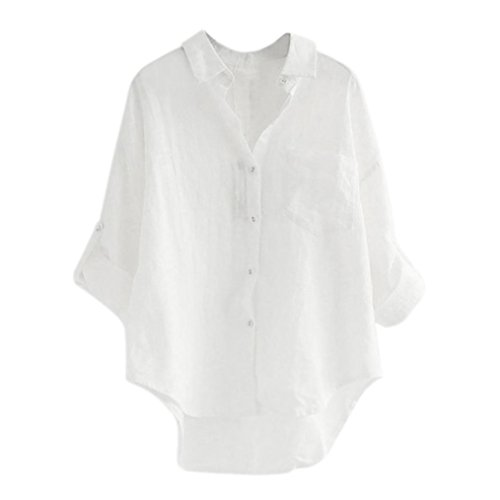 Clearance Women Casual Loose V Neck Button T-Shirt 3/4 Sleeve Cotton Line Blouse Plus Size Tops Tee [On sale] (White, XL/US 14)