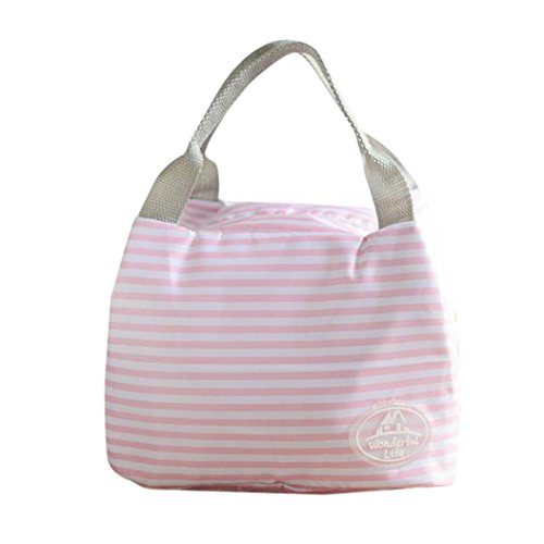 Clearance Deal! Hot Sale!Picnic Lunch Bag, Fitfulvan Portable Lunch Bag Tote Picnic Insulated Cooler Zipper Organizer Lunch Box (Pink)