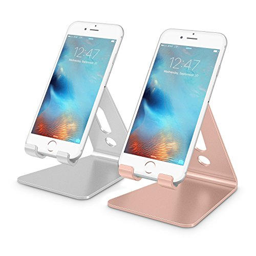 [2 Pack] Cell Phone Stand, OMOTON Desktop Cellphone Stand Tablet Stand, Advanced 4mm Thickness Aluminum Stand Holder for Mobile Phone and Tablet (Up to 10.1 inch), Silver & Rose Gold