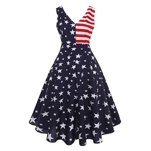 Women Independence Day Dress,Todaies Women Vintage Sleeveless V Neck Dress American Flag Printing Evening Party Prom Swing Dress (2XL, Blue)