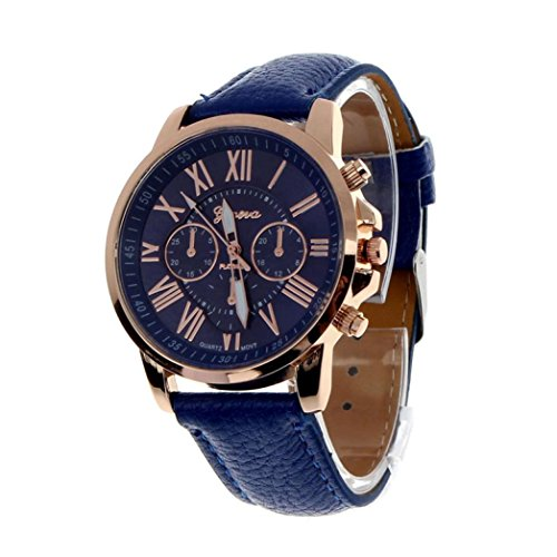 Analog Quartz Watches for Women Ladies On Sale Clearance Cuekondy Roman Numerals Faux Leather Strap Luxury Dress Wrist Watch (Dark Blue)