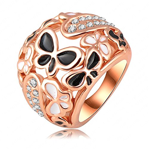 LuckyWeng New Exquisite Fashion Jewelry Rose Gold Hollow Butterfly Austrian Crystal Diamond Ring