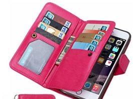 Summer Clearance Sale Day 2016 Valentoria® Premium Vintage Leather Wallet Case Magnetic Detachable Slim Back Cover Card Holder Slot Wrist Strap Case(iPhone 5/5s, Hot Pink)