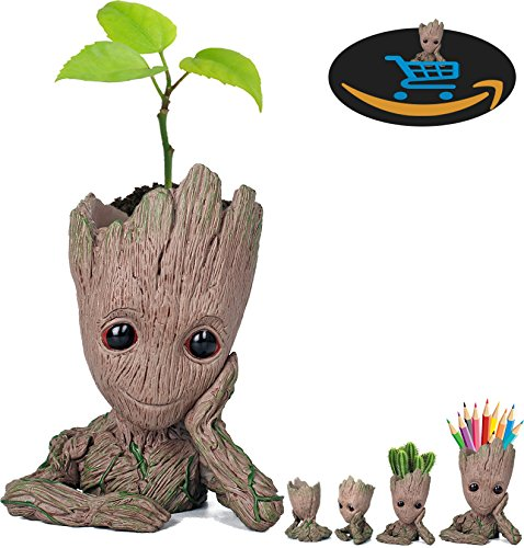 Prime Sale Day Deals Week Amazon 2018-Creative Groot Planter Pot Guardians of The Galaxy Flowerpot Baby Groot Action Figures Cute Model Toy Pen Pot Pencil Holder Best Gifts For Kids (Groot Cute)