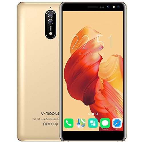 Cell Phone Unlocked, v mobile N8-N Smartphones International Version, Dual Sim Mobile Phones with 5.5 inch HD (18:9) Screen|1GB RAM + 16GB ROM|Android 7.0|5.0 MP+ 8.0 MP|2800 mAh Battery| Gold