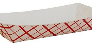 A World Of Deals Paperboard Red Check Food Tray Hot Dog Size (Pack of 250)