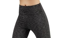ODODOS Power Flex Boot Cut Yoga Pants Tummy Control Workout Running 4 Way Stretch Boot Leg Yoga Pantss with Hidden Pocket,SpaceDyeCharcoal,Large