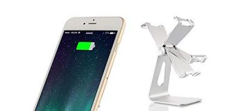 Cell Phone Stand, siroflo Adjustable Desktop Phone Dock Cradle Holder with Switch Stand Compatible with iPhone 6 6s 7 8 X, Android Smartphone, Mobile Phone, Charging Accessories Desk (Silver)