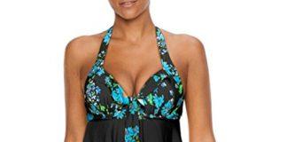 iLH Lightning Deals Plus Size Swimsuit,Womens Sexy Halter Floral Print Swimwear Tankini Bathing Asymmetric Swimdress (XXXXL, Black)