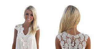 BeautyVan Clearance Deals ! Women Dress 2018 Sexy Sunmer Dress for Women Boho Sleeveless Womens Loose Summer Beach Lace Dress (L, White)
