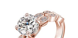 LuckyWeng New Exquisite Fashion Jewelry Rose Gold Wave Austrian Crystal Diamond Ring