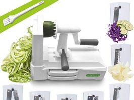 Spiralizer Ultimate 7-Blade Vegetable Slicer, Strongest-and-Heaviest Duty Vegetable Spiral Slicer, Best Veggie Pasta Spaghetti Maker for Keto/Paleo/Gluten-Free, With Extra Blade Caddy & 4 Recipe Ebook