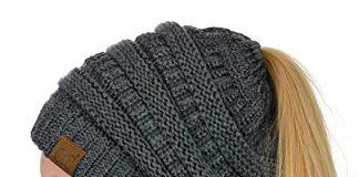 C.C BeanieTail Soft Stretch Cable Knit Messy High Bun Ponytail Beanie Hat, Dark Melange Gray Metallic