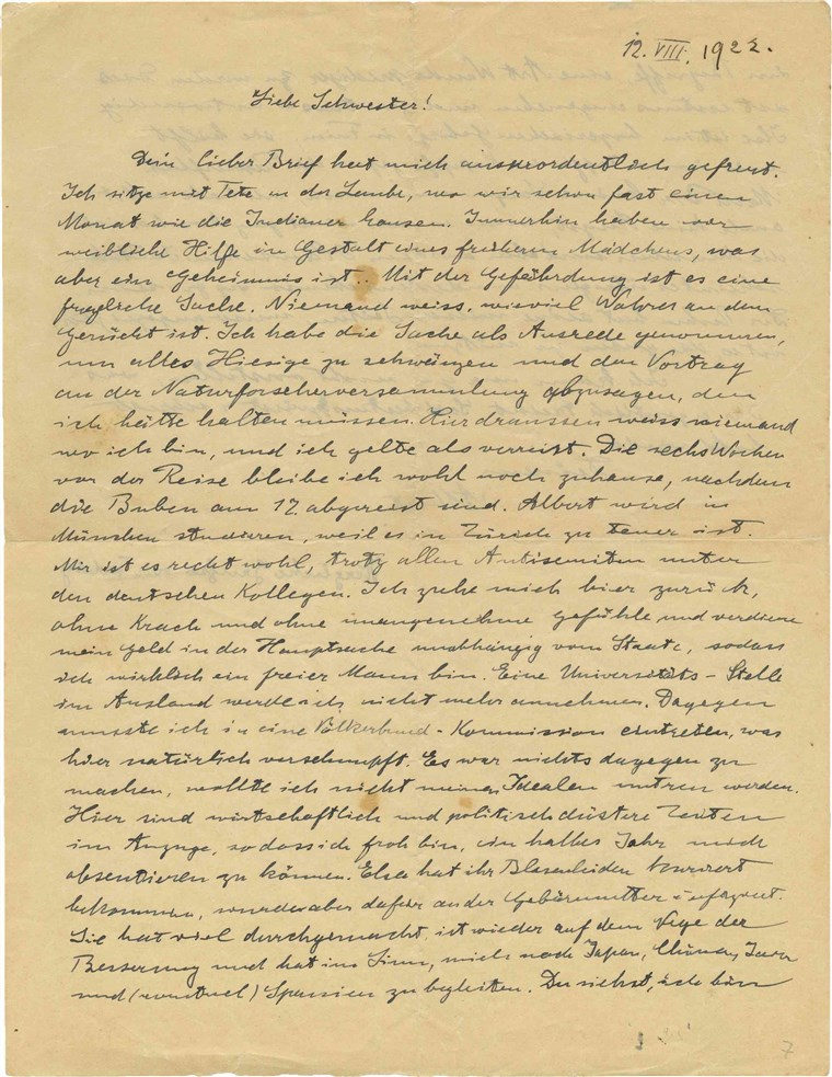Image: A copy of a 1922 letter Albert Einstein wrote to his younger sister, Maja