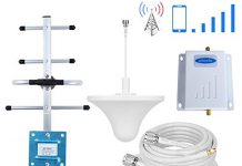 Phonelex ATT T-Mobile Cell Phone Signal Booster 4G LTE 700Mhz FDD Band 12/17 AT&T Cell Signal Booster Repeater Mobile Phone Signal Amplifier AT&T with Ceiling +Yagi Directional Antenna Kits Home Use