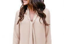 Clearance Sale! SSYUNO Women's Solid Long Sleeved V-Neck Casual Tie Chiffon Shirt Tunic Tops Blouse