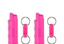 SABRE Red Pepper Spray 2-Pack—Police Strength—Pink Case & Finger Grip—Quick Release Key Ring—5X More Bursts—10-Ft (3 m) Range