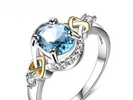 LuckyWeng Women's Jewelry Platinum Circular Bead Cross Heart Blue Gemstone Wedding Ring
