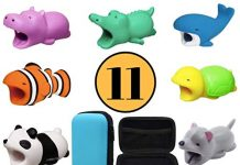 Animal Buddies Phone Cord Bites - Cable Protector for iPhone - Cute Animals Protects Cell Phone Accessories & Bites Data Line - Bite Cord Phone Accessory (11 Pieces w/Pouch)