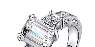 LuckyWeng New Exquisite Fashion Jewelry Platinum Austrian Crystal Diamond Zircon Ring