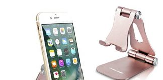 [Latest Version] Foldable Cell Phone Holder, YOSHINE Adjustable Cell Phone Stands Tablet Stand Solid Aluminum Stand Charging Dock for All Smart Phones and Tablets Desk Phone Accessories - Rose Gold