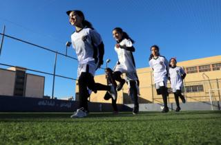 Girls train for the first time at a Libyan football academy in Tripoli, Libya December 21, 2018