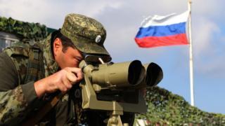 Russian border guard in Crimea, 2017 file pic