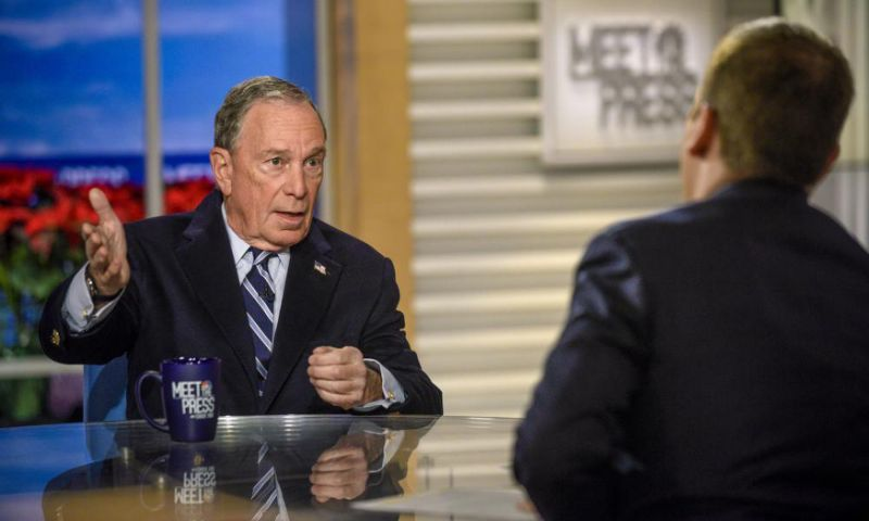 Michael Bloomberg and moderator Chuck Todd appear in a pre-taped interview on Meet the Press in Washington on 20 December.