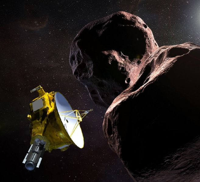 """This artist's illustration obtained from NASA shows the New Horizons spacecraft encountering 2014 MU69 –- nicknamed """"Ultima Thule"""" –- a Kuiper Belt object that orbits one billion miles beyond Pluto (AFP Photo/HO)"""