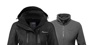 OutdoorMaster Women's 3-in-1 Ski Jacket - Winter Jacket Set with Fleece Liner Jacket & Hooded Waterproof Shell - for Women (Black,M)