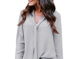 SSYUNO Women's Solid Long Sleeved V-Neck Casual Tie Chiffon Shirt Tunic Tops Blouse