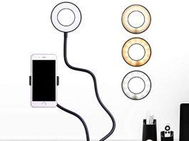B-Land Cell Phone Holder with Selfie Ring Light for Live Stream, Flexible Mobile Phone Clip Holder Lazy Bracket Desk Lamp LED Light for Bedroom, Office, Kitchen, Bathroom (Black)