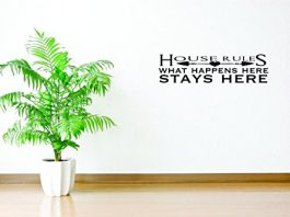 Decal Wall Sticker - ON SALE NOW : House Rules What Happens Here Stays Here Quote Text Lettering Home Decor Picture Art Size :16 Inches x 40 Inches